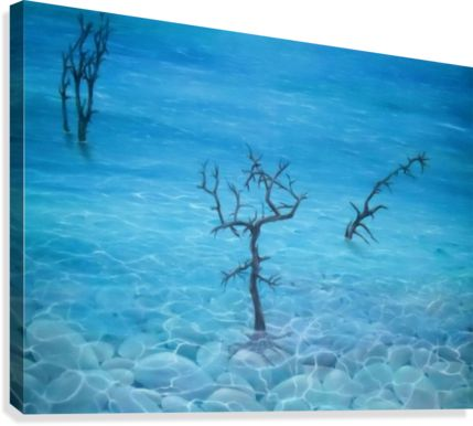 Winter, seascape, trees, scene, blue, fine art, oil painting, decor items, canvas print, for sale