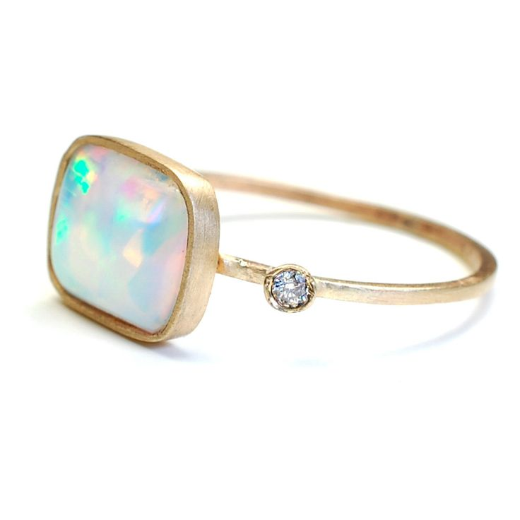 GORGEOUS  Opal Ring, Opal and Diamond Ring, Gold, OOAK, Nixin. $365.00 USD, via Etsy.