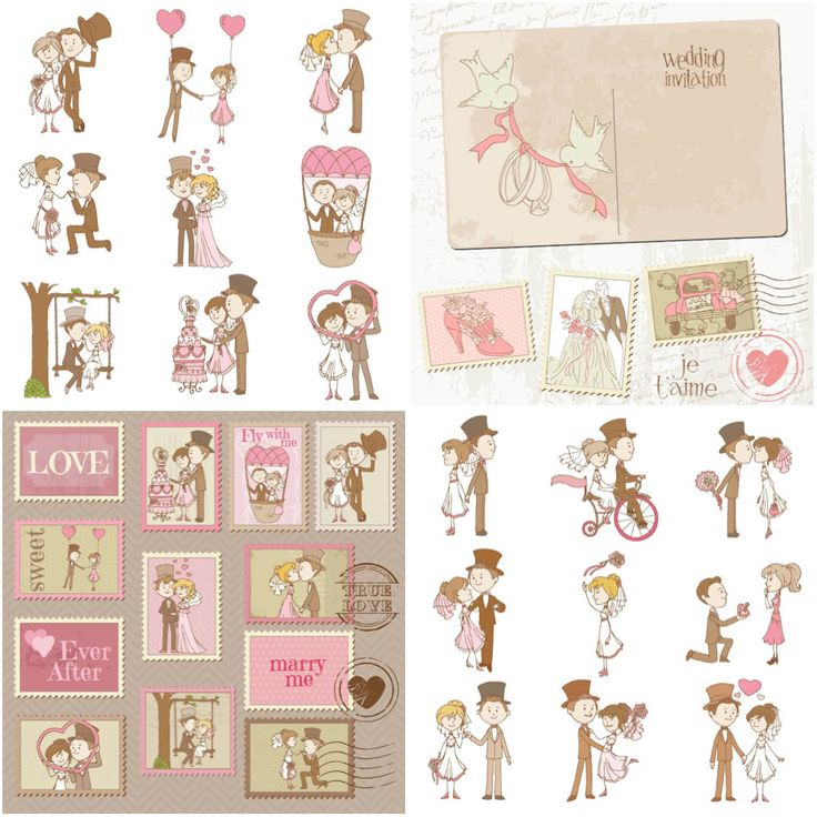Vector bride and groom in different places, wedding templates | Vector Graphics & Vector Illustrations