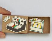 "Love Encourage Frienship Card ""Smile"" Matchbox / Gift box / Message box Vintage Camera"