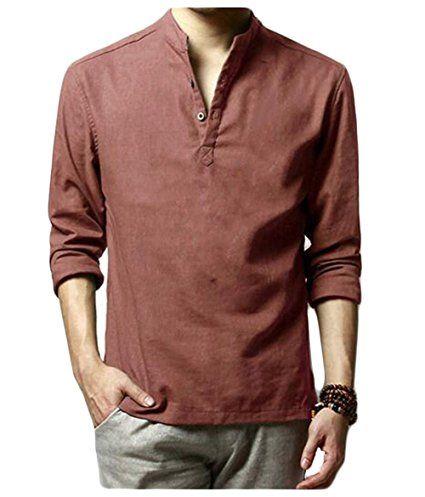 HOEREV uomini di marca casual maniche lunghe di lino Camicie Camicie Beach: Amazon.it: Abbigliamento