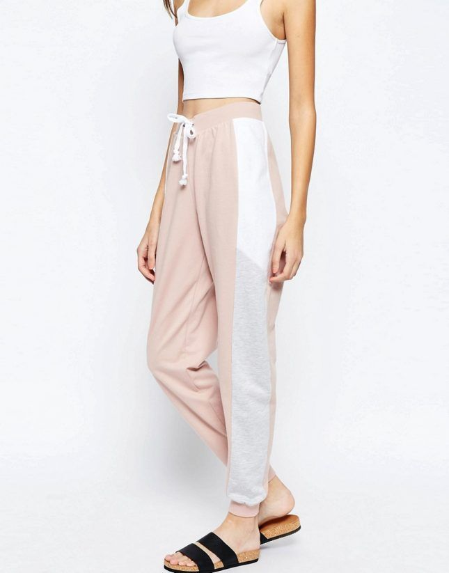 Lazy girls, save these colorblock pale pink + gray joggers + tracksuits as inspiration for your own athleisure outfits.