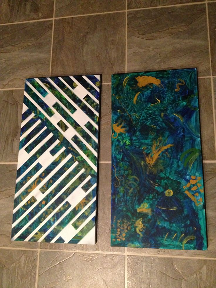 "Let my kids do their art all over these canvases, then tapes them with painters tape, sprayed over with white flat spray paint and peeled tape off while spray paint was still wet. Fun way to add some ""order"" to their art!"