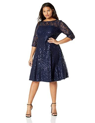 14ef2f152120 S.L. Fashions Womens Size Lace and Sequin Fit and Flare Dress Plus ...