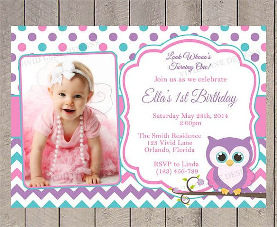 Owl Birthday Invitation  Pink Teal and Purple by VividLaneDesigns