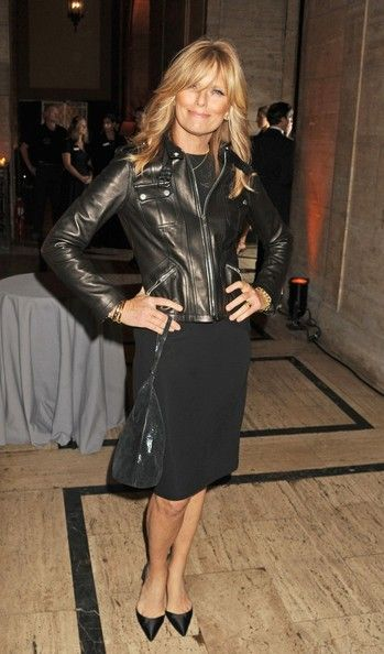 Patti Hansen Leather Jacket - Patti Hansen, at the God's Love We Deliver 2012 Golden Heart Awards Celebration, complemented her head-to-toe black outfit with a black leather zip-up jacket.