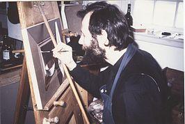 Henri Bol working in his studio, Waterpoort Heusden, 1988, painting - art