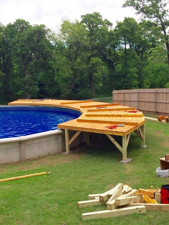 Above ground pool deck ideas on a budget backyards 9 ...