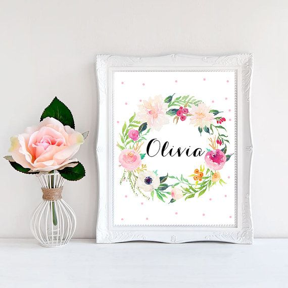 Nursery name print Baby girl name print Floral by WordsAndConfetti