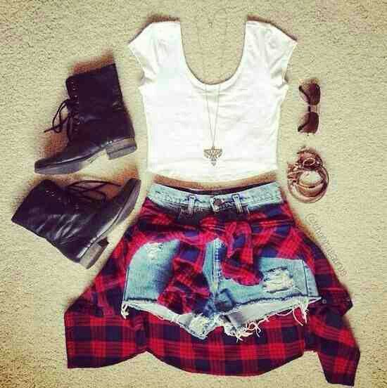 "Teen Fashion is being dominated by ""old"" styles, like this grungy outfit, complete with the red flannel and combat boots."
