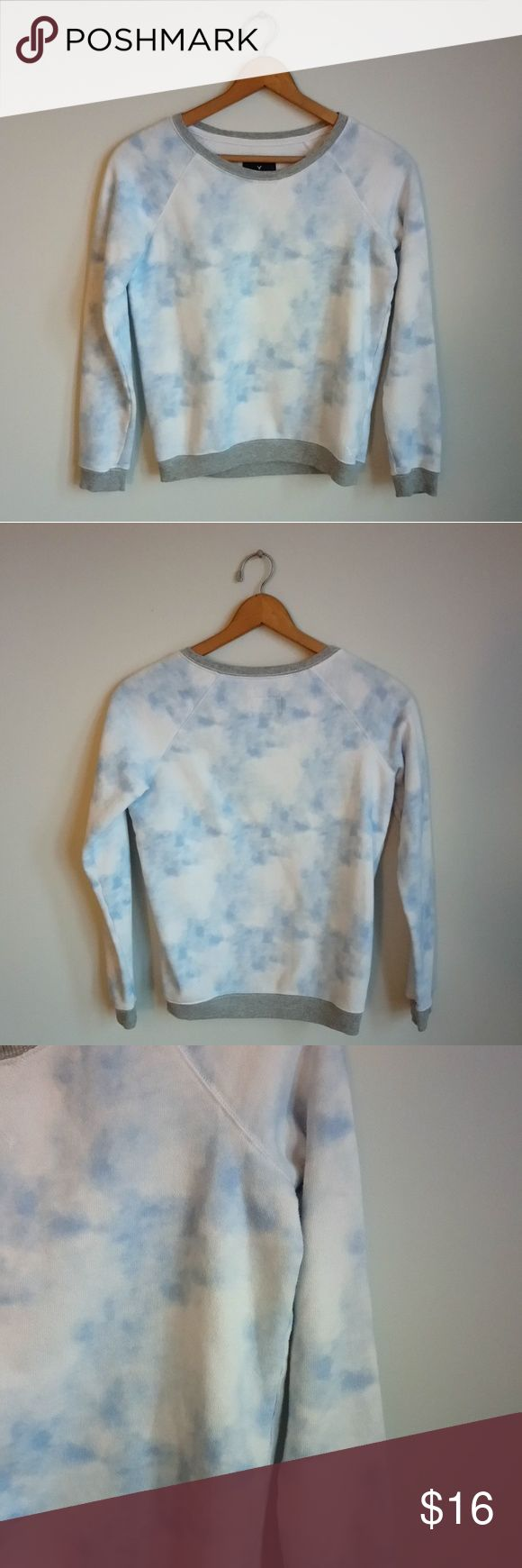 American Eagle Blue Tie Dye Sweatshirt American Eagle blue tie dye sweatshirt. Length 23in, underarm to underarm 19in American Eagle Outfitters Tops Sweatshirts & Hoodies