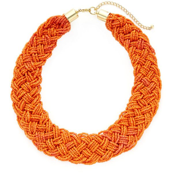 Kenneth Jay Lane Women's Braided Beaded Collar Necklace - Orange ($30) ❤ liked on Polyvore featuring jewelry, necklaces, orange, beaded collar necklace, beaded necklaces, braided bead necklace, gold braided necklace and long gold necklace