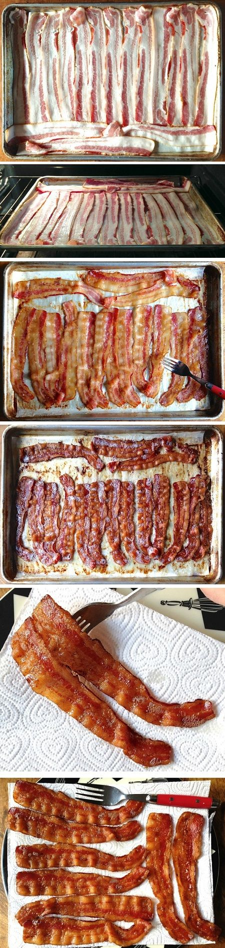 Step by step bake your bacon Preheat the oven to 350°F. If you're baking some other breakfast dish, it'll probably already be at this temperature. And if you're baking something that calls f…