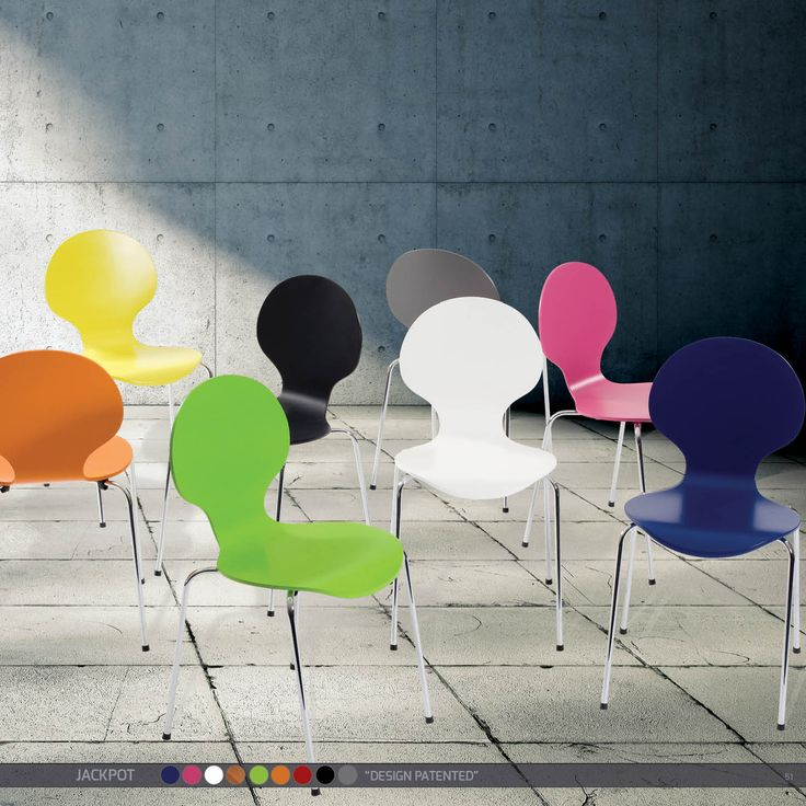 """JACKPOT Chairs - """"Design patented"""" lacquer in bright colors w. chrome legs"""