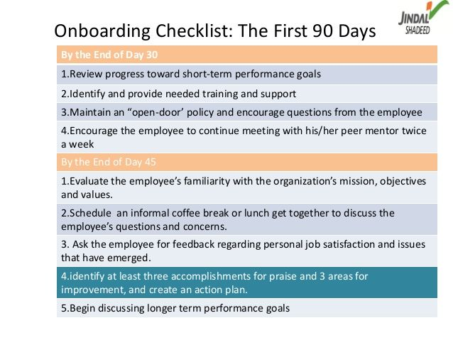 Onboarding Checklist The First 90 DaysBy the End of Day 301Review progress toward shortterm