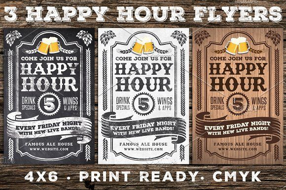 3 Vintage Happy Hour Flyers by Lucion Creative on @creativemarket