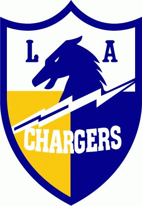 Los Angeles Chargers Primary Logo (1960) - Royal blue horse, white lightning bolt on a royal blue and gold shield