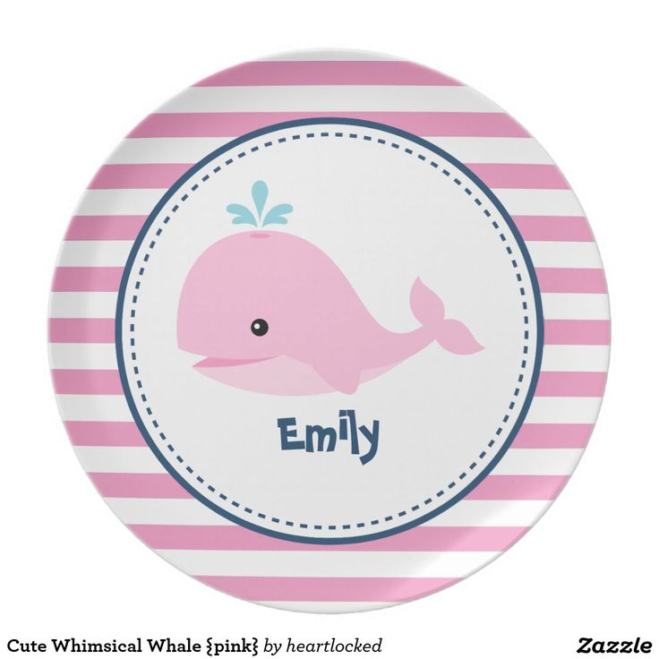 Cute Whimsical Whale {pink} Dinner Plate