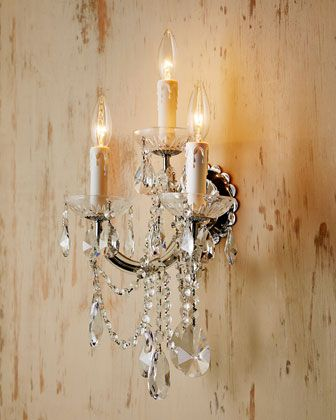 For Dining Room:: Ariana Three-Light Crystal Sconce at Horchow.