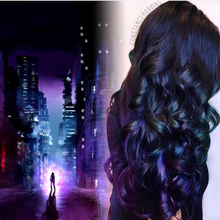 Amazing purple hair color blue hair color rainbow hair color by Constance Robbins Long hair Long curly hair Colorful hair www hotonbeauty.com