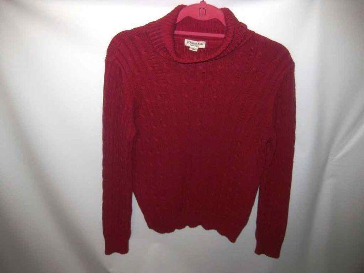 "EUC Woman""s Large St. John's Bay Red Turtle Neck Sweater"