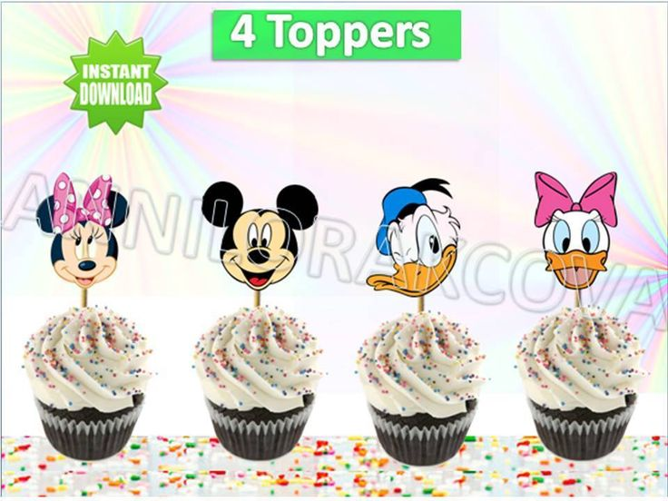 Cupcakes toppers Disney mickey mouse, minnie, donald duck , cake pop, You print