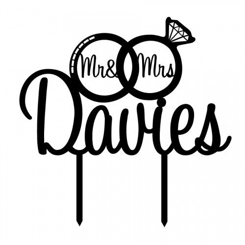 Custom Wedding Names in Rings Acrylic Cake Topper (many fonts
