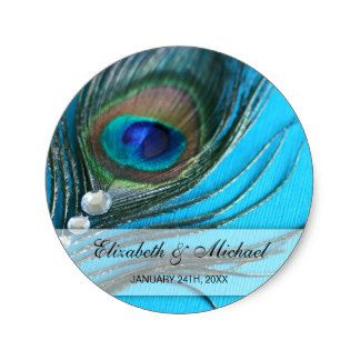 A glamorous peacock feather and jewels are featured on these stickers. Easily customize with your event details. These sticker labels are great for personalizing favor bags, favor tins, envelopes, and more!