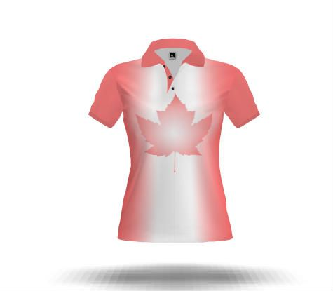 Pink Canada Souvenir Polo Shirts Cute Lady's Canada Flag Gold Shirts