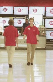 When you dress up as target employees so you can sell your bands album and you pass by your band mate who is also dressed up as a target employee who is trying to sell the bands album and the both of you think its funny #relatable gla omh
