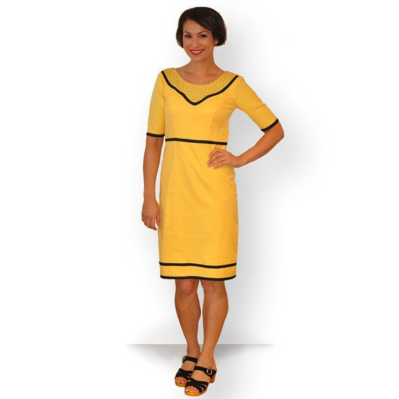 A love of yellow - Lemon dress with blue trim and embroidery by theprofdaughter, $175.00