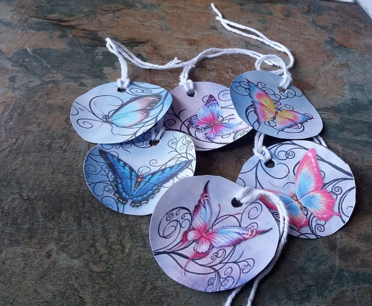 Stunning Butterfly Gift Tags, 8 Gift Tags, Twine Tags, Butterfly Tags, Gift Tags, Craft Tags, Handmade Gift Tags, Gift Wrapping Accessories by SpryHandcrafted on Etsy