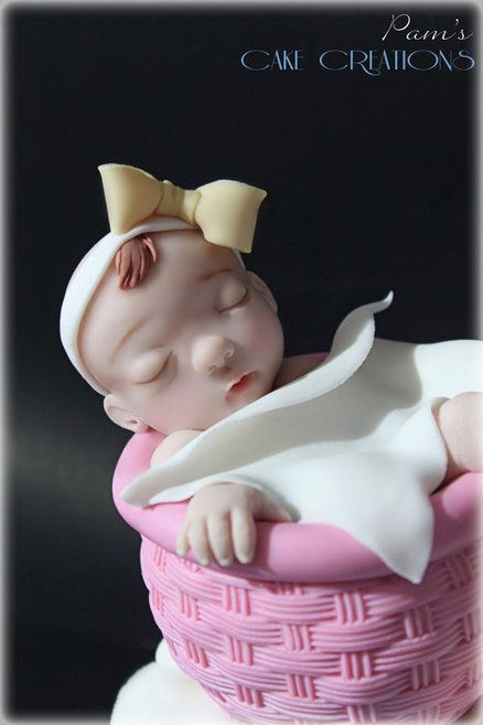 baby stork cake topper Cake by PamsCakeCreations