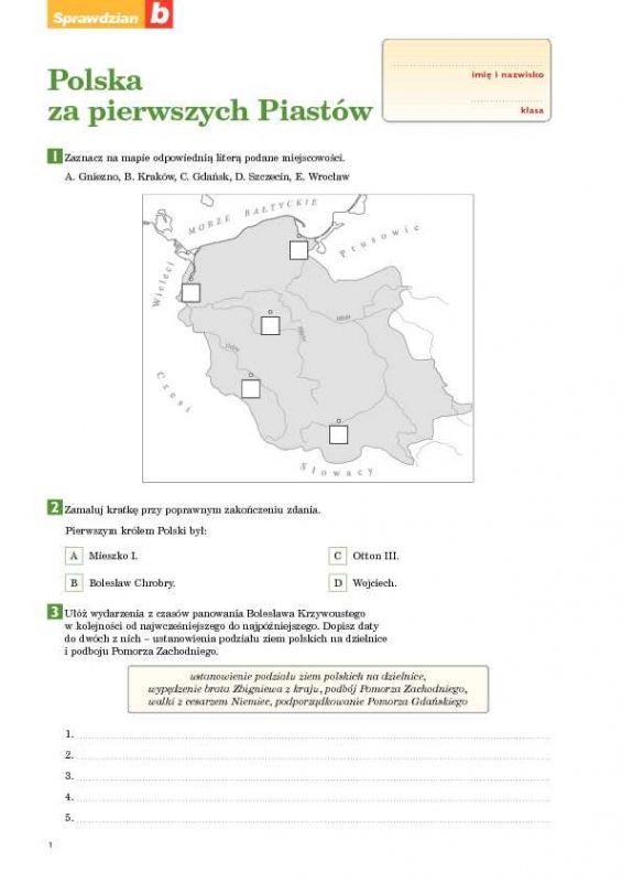Chwalebne Polska za pierwszych Piastów Sprawdzian B   spr   History i Diagram EU61