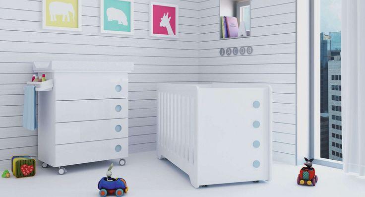 Conjunto de cuna de 60x120cm con bañera mueble cambiador a conjunto en color celeste para niños. Una habitación única para tu bebé y tú