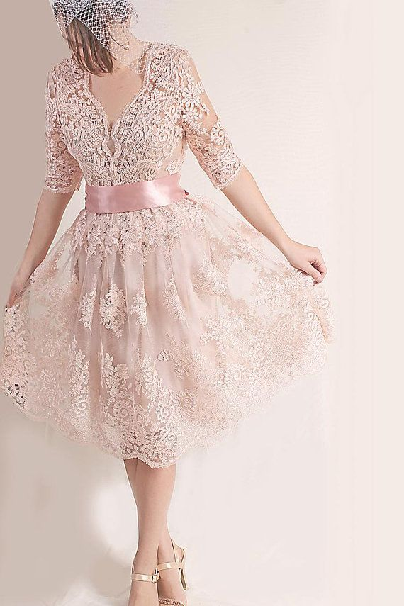 85654f661a0 Plus Size Lace short dress   blush pink wedding party gown   bridal ...