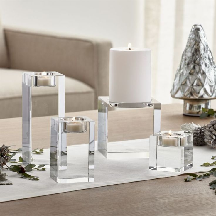 Oslo Crystal Candle Holders | Crate and Barrel