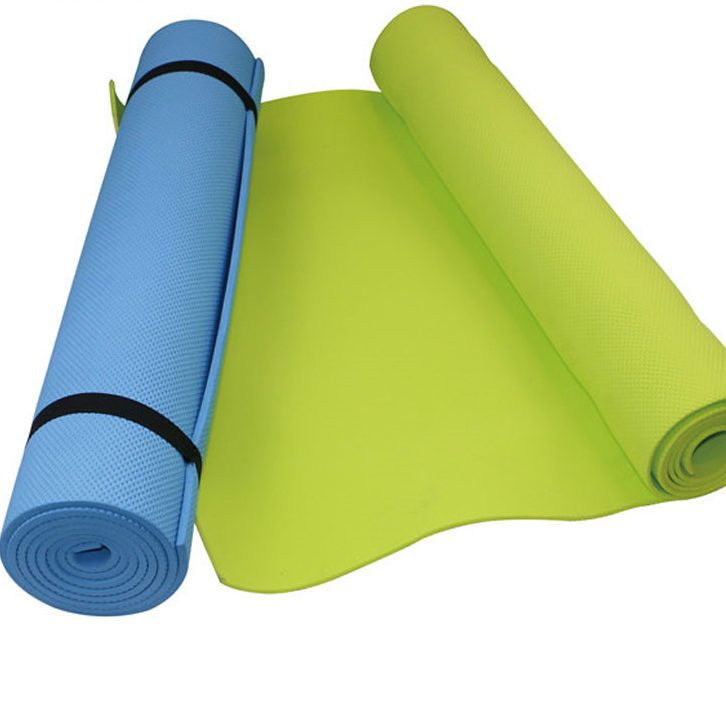 Elastic and Anti-Slip EVA Yoga Mats Here we are presenting amazing EVA Yoga Mats; it would be the best choice for you! You can get it in different range of colors specifically in the pink, Blue, Green, Violet, Purple, Dark green, and orange.  It is made from extremely soft material of EVA with the sizing of about 173CM*61CM*6MM.