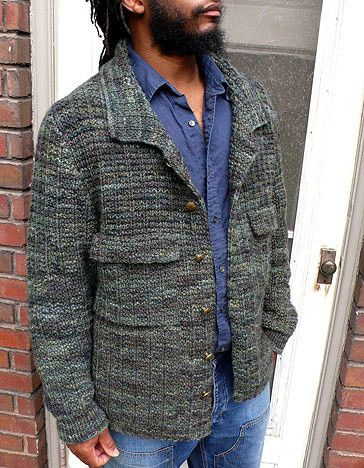 A man's field jacket or vest to knit in an allover tweedy textured stitch with set-in sleeves. Vest has a ribbed armhole trim. It also has chest pockets, side hem slits, and shirt collar. All pieces a