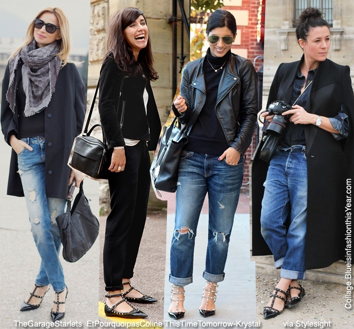 Boyfriend jeans, black coats, and Valentino rockstud flats