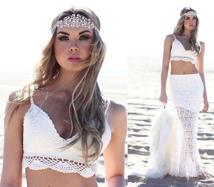Handmade cotton knit vest straps Halter Tops Bikini