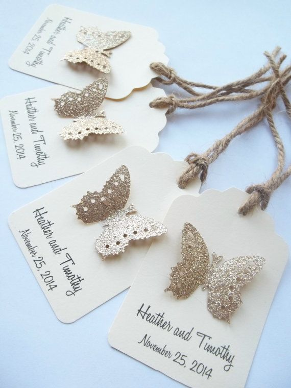 Custom Favor Tags - Luxe Wedding Butterfly Favors , Gift Tags - Champagne and Ivory
