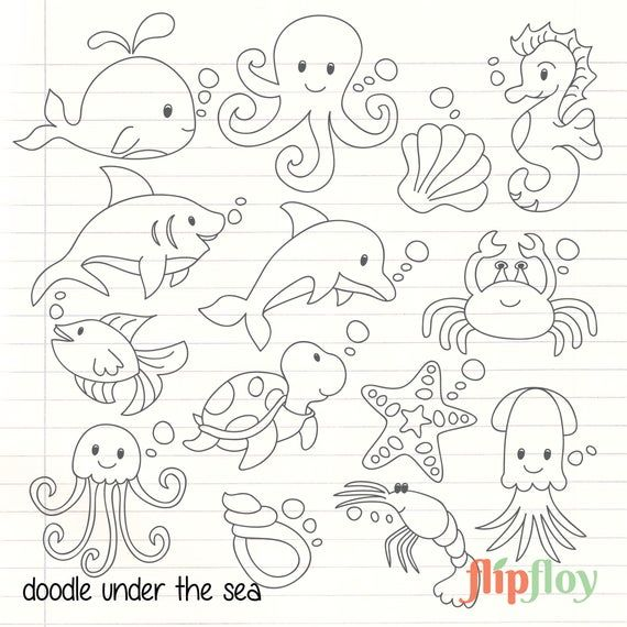 This Is Doodle Sea Collection With 14 Icon Clipart Each Icon Have Their Unique Style And Cute Color Sea Animals Drawings Under The Sea Animals Animal Doodles