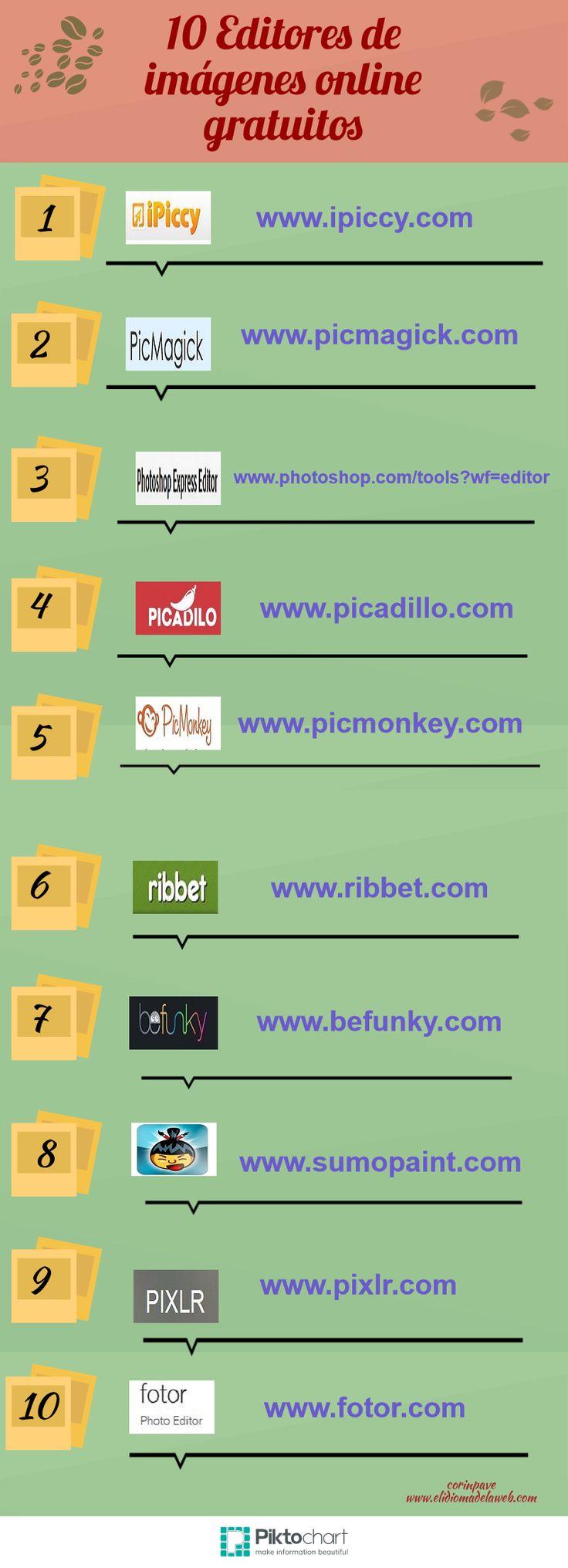 10 editores de imágenes online gratuitos #infografia #infographic vía: http://elidiomadelaweb.com/infografias/infografia-10-editores-de-imagenes-online-gratuitos/