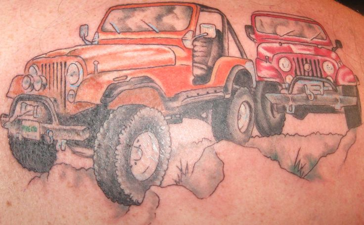 Jeep tattoos   http://www.certifiablejeep.com/images/tattoos/jeeps.jpg