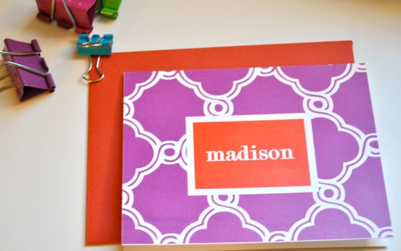 QUATREFOIL PATTERN Custom Notecard  set of by TheFinePrintPaperie, $12.00
