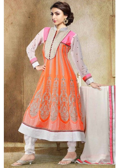 Designer Orange #Salwar Kameez  Check out this page now :-http://www.ethnicwholesaler.com/salwar-kameez