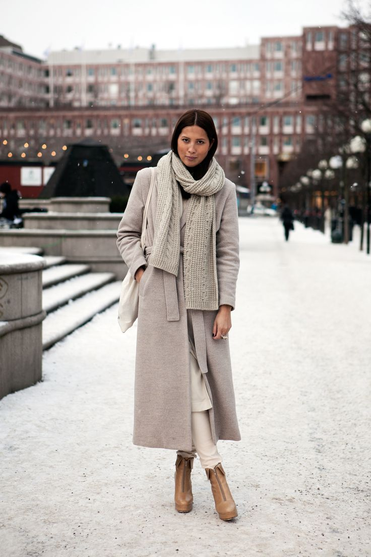 Fashion: New York City Style. Long, dove grey, tie-waist coat.