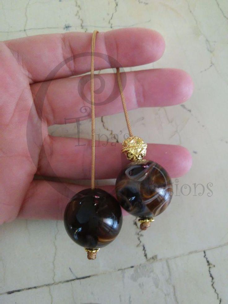 Greek Begleri mini komboloi smoky brown 20mm bead brown cord tinas creations gb