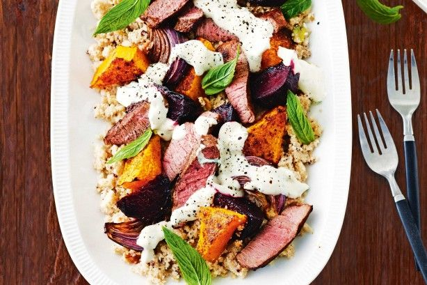 A stylish Greek-inspired warm lamb salad with more than 5 veg per serve - this offering is healthy and hearty.
